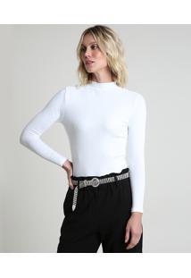 Blusa Feminina Canelada Com Botões Manga Longa Gola Alta Off White