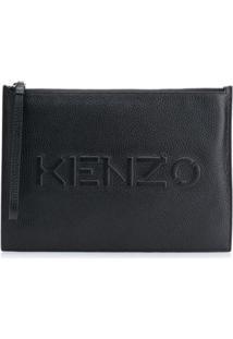 Kenzo Logo Embossed Zip Clutch - Preto