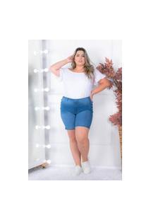 Bermuda Botões Laterais Almaria Plus Size Shyros Jeans Azul