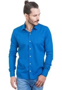 Camisa Di Sotti Trabalhada Azul - Masculino