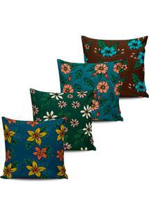 Kit 4 Capas Almofadas Decorativas Flores Color 45X45Cm