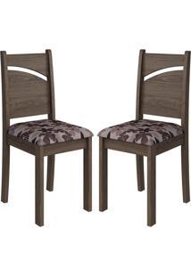 Cadeira Melissa Mdf 02 Unidades Marrocos/Floral Bordô Cimol