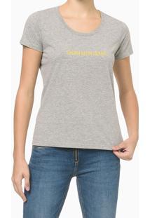 Blusa Feminina Básica Slim Logo Cinza Mescla Calvin Klein Jeans - Pp