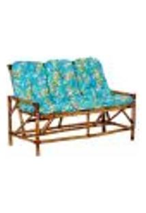 Sofá 3 Lugares De Bambu Cancun Para Área Edicula Jardim G17