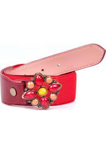Cinto Artlux De Pedraria - Feminino-Vermelho
