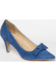 Scarpin Em Couro Com Laã§O - Azul Escuro- Salto: 7Cm Luiza Barcelos