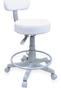 Cadeira Mocho Com Apoio Para Pés Para Clínicas Branco Base Cinza