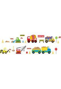 Adesivo De Parede Caminhões- Amarelo & Vermelho- 70Xevolux