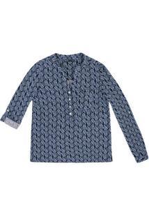 Camisa Feminina Em Tecido De Viscose Com Estampa