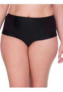Calcinha Lateral Dupla Renda Plus Size - Preto - 3Xl