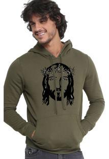 Blusa Moletom Triztam Jesus Verde Oliva