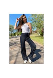 Calça Pantalona Amazonia Vital Malha Com Botão Madrepérola E Bolso Preto