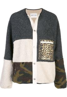 Sandy Liang Patchwork Knit Cardigan - Cinza