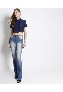 Jeans High Flare Estonado - Azul -Lança Perfumelança Perfume