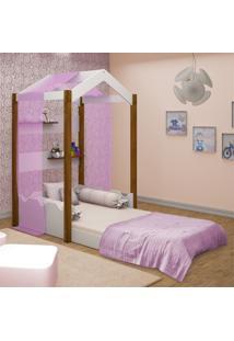 Cama Montessoriana Casa Solteiro Com Voal Rosa Casah - Branco/Rosa/Roxo - Dafiti