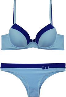 Conjunto Femina Lingerie Sutiã Convencional Calcinha Bíquini Azul