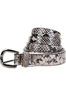 Cinto Couro Shoestock Snake Fivela Feminino - Feminino-Cinza