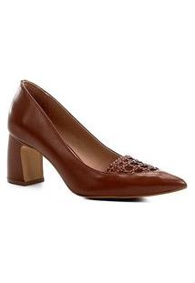 Scarpin Couro Shoestock Salto Médio Detalhe Macramê