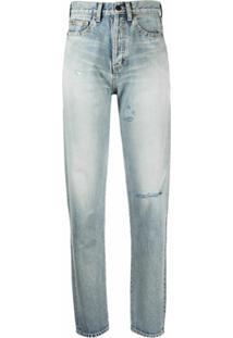 Saint Laurent Calça Jeans Cintura Alta Com Rasgado - Azul