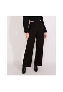 Calça Feminina Pantalona Wide Cintura Alta Com Linho Preta