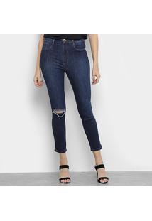 Calça Jeans Lança Perfume Skinny Super High Ankle Puídos Feminina - Feminino-Azul