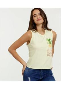 Blusa Marisa Estampa Abacaxi Sem Manga Feminina - Feminino-Verde Claro
