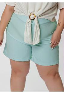 Short Plus Size Verde Com Cintura Alta E Bolsos