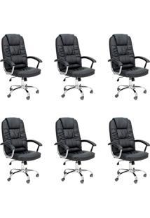 Conjunto Com 6 Cadeiras De Escritório Presidente Finland Preto