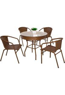 Conjunto Mesa Com 4 Cadeiras Miami - Metal Do Brasil - Avela Envelhecido