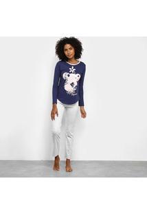 Pijama Evanilda Longo Disney Mickey Mouse Feminino - Feminino-Azul+Cinza