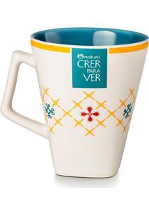 Caneca De Cerâmica Azul Crer Para Ver - 270Ml