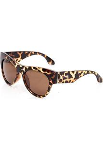 Óculos De Sol Clos Animal Print Marrom - Kanui