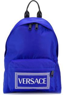 Versace Vintage Logo Print Backpack - Azul