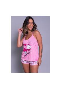 Pijama Feminino Serra E Mar Modas Short Doll Estampado Rosa