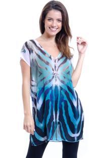 Blusa Estampada 101 Resort Wear Tunica Decote V Animal Print Zebra
