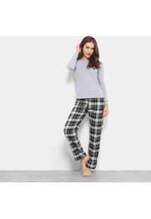 Conjunto Pijama Flora Zuu Longo Xadrez 3 Peças Feminino - Feminino-Cinza