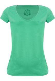 Camiseta Aleatory Feminina Gola V Básica - Feminino-Verde
