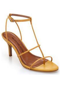 Sandalia Salto Medio Tiras Finas Amarelo