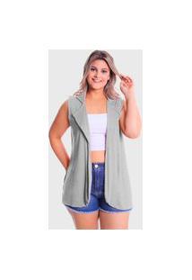 Colete Blazer Plus Size Lynnce Cinza