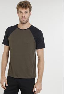 Camiseta Masculina Raglan Básica Manga Curta Decote Careca Verde Militar