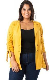 Blazer Alongado Em Linho Plus Size Confidencial Extra Feminina - Feminino-Amarelo