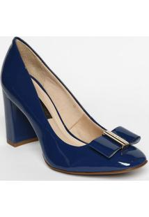 Sapato Tradicional Em Couro Com Tag - Azul - Salto: Jorge Bischoff