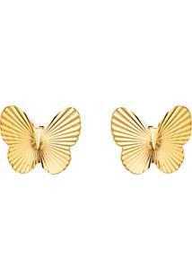 Brinco De Ouro 18K Borboleta Diamantada