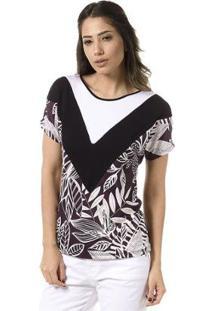 Blusa Bloom Estampada Mix De Tecidos - Feminino
