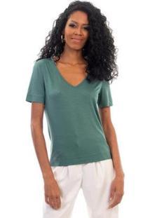 Blusa L'Essere Modal Slim Decote V - Feminino-Verde Claro