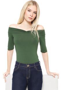 Blusa Colcci Ombro A Ombro Drapeado Verde