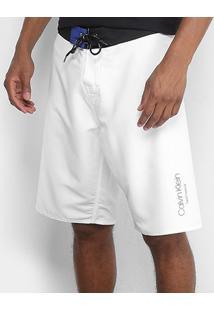 Bermuda D'Água Calvin Klein Básica Masculina - Masculino-Branco