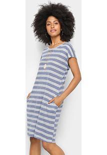 Vestido Listrado Pérola Com Bolso Feminino - Feminino-Azul