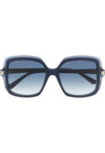 Cartier Eyewear Óculos De Sol Quadrado Oversized Pantheré - Azul