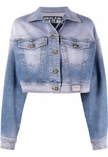 Versace Jeans Couture Jaqueta Jeans Cropped Com Efeito Desbotado - Azul